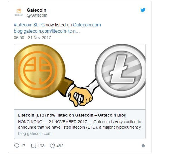 На бирже Gatecoin теперь доступны операции с лайткоином