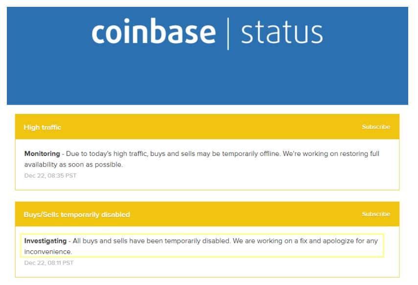 Американская платформа Coinbase внезапно остановила операции с криптовалютой