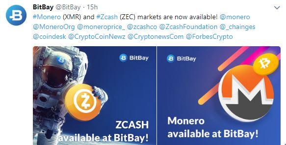 Monero и Zcash торгуются на бирже BitBay