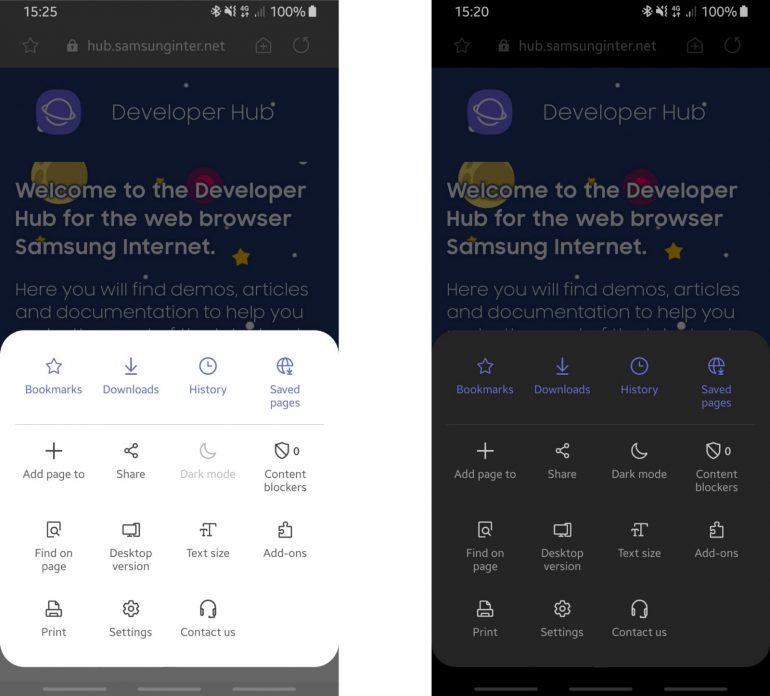 Браузер Samsung Internet Browser перешел на новый интерфейс One UI и получил поддержку темной темы Dark Mode (пока только в бета-версии) рис 2