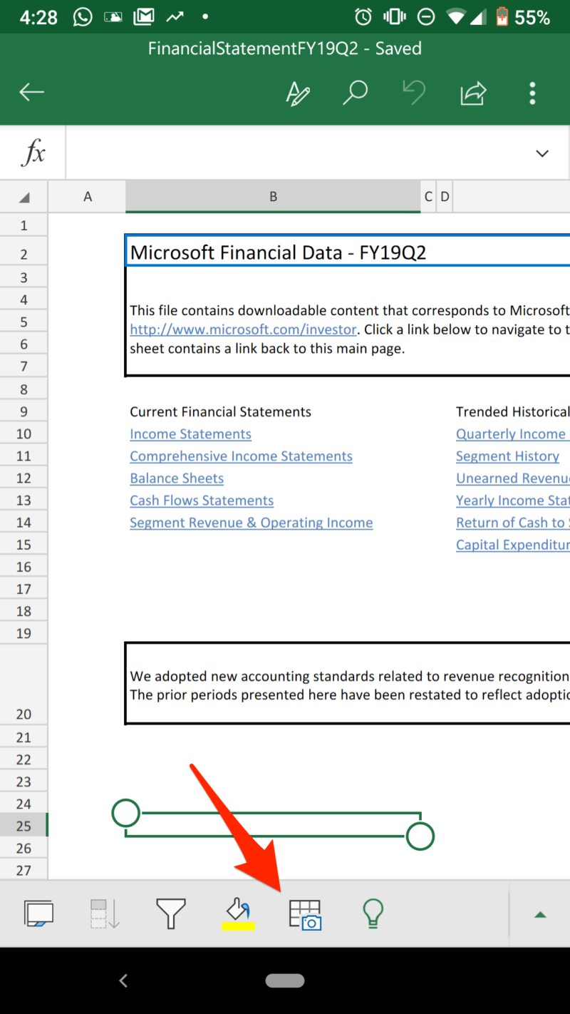 распознавание таблицы по фото в Excel на Android