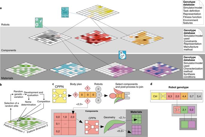 Образец архитектуры, создания решений, создания робота и иерархический генотипмногоуровневой эволюции / ©Vrije Universiteit Amsterdam