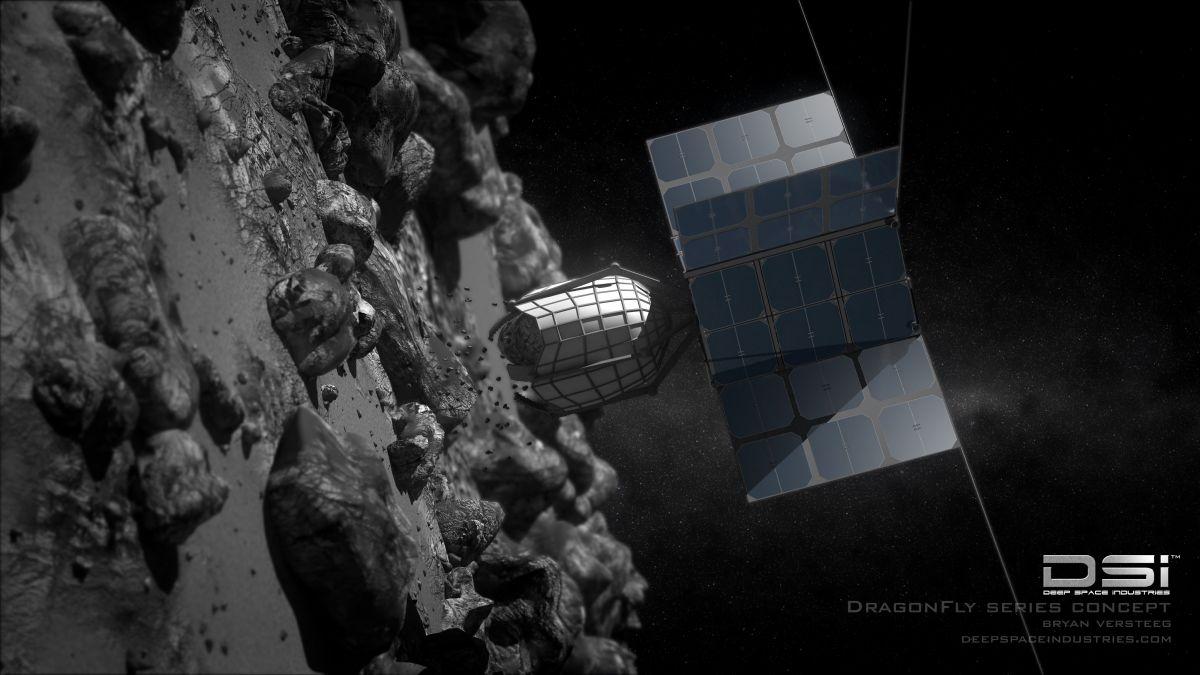 Концепция зонда DragonFly компании Deep Space Industries для бурения астероидов / ©Bryan Versteeg/Deep Space Industries