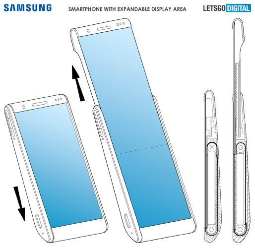 Samsung получила патент на концепт смартфона со сворачивающимся дисплеем